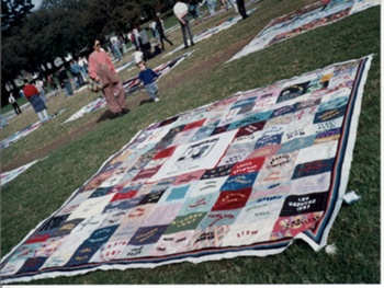 Quilt display -Domain, Sydney 1993